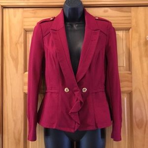 White House Black Market Deep Red Military Blazer